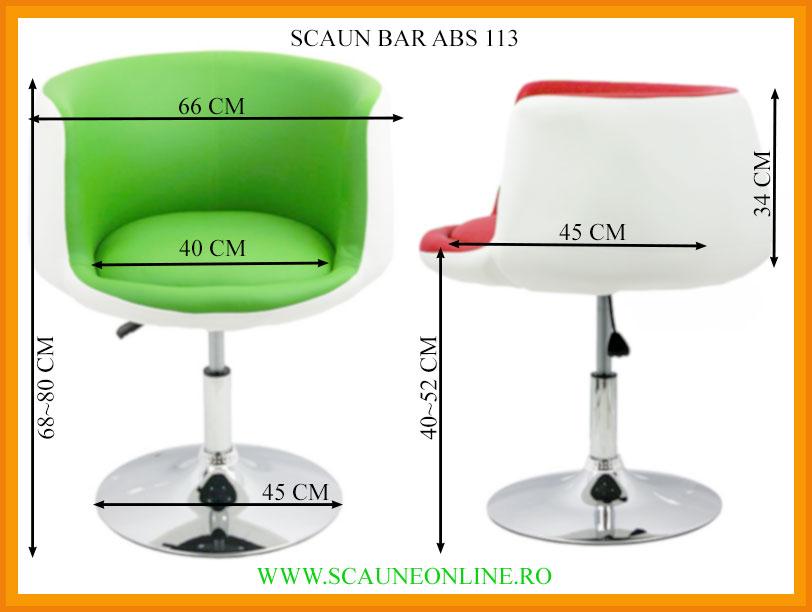 Dimensiuni Scaun bar ABS 113
