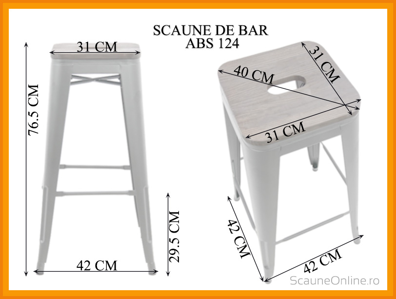 Dimensiuni Scaun de bar ABS 124