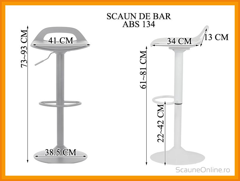 Dimensiuni Scaun de bar inalt din piele ecologica ABS 134