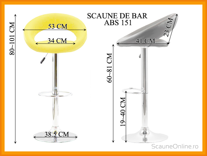 Dimensiuni scaune bar ABS 151
