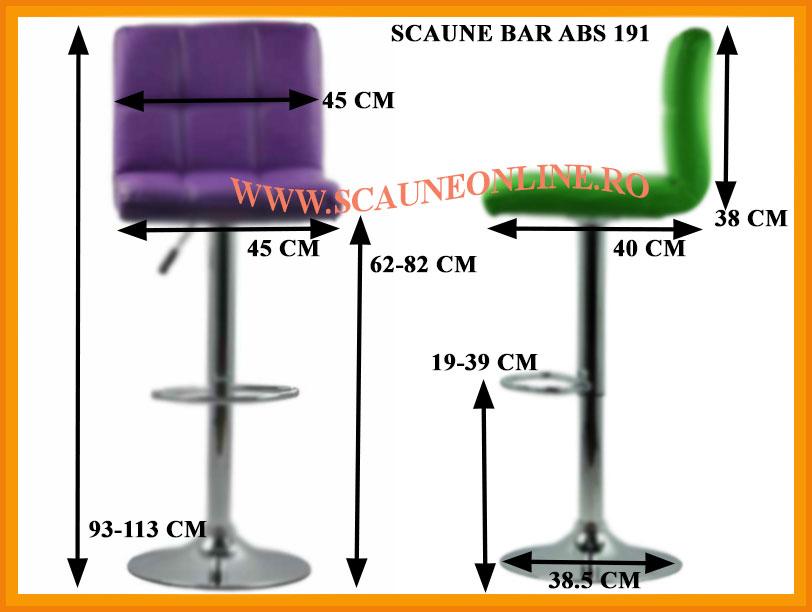 Dimensiuni Scaune bar ABS 191