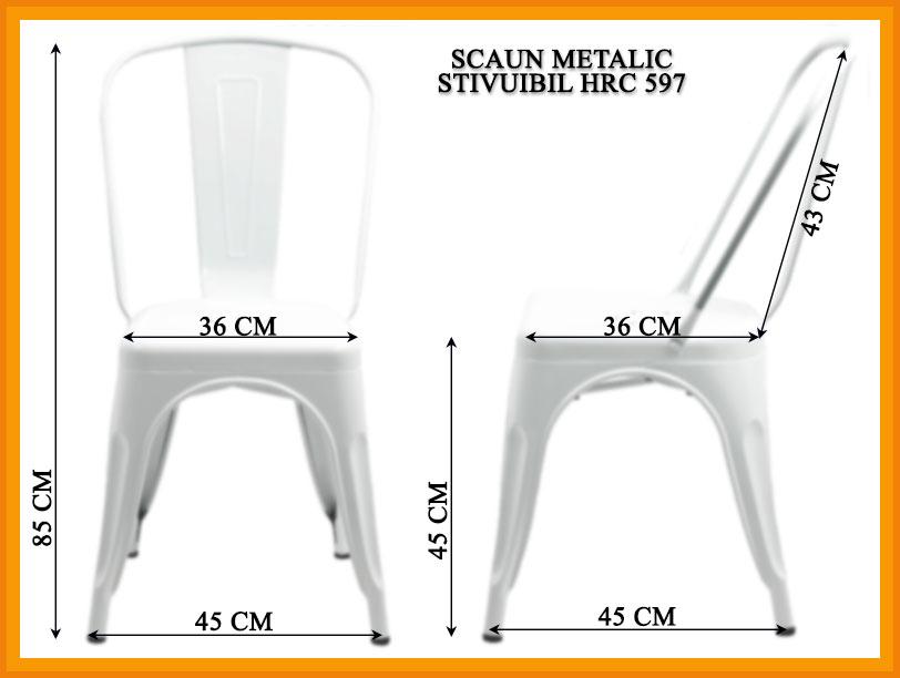 Dimensiuni Scaun metalic stivuibil HRC 597