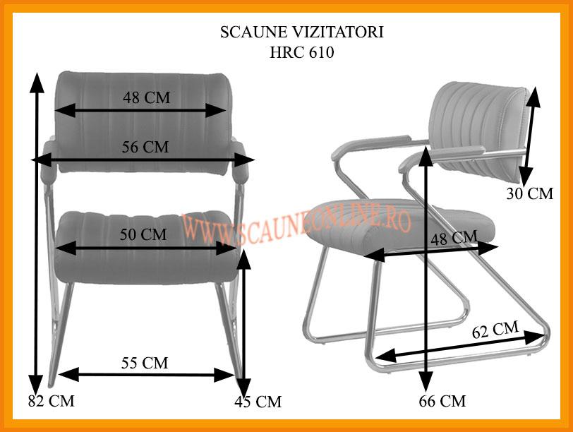 Dimensiuni Scaune pentru vizitatori HRC 610