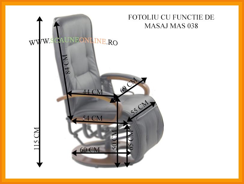 Dimensiuni Fotoliu cu masaj MAS 038