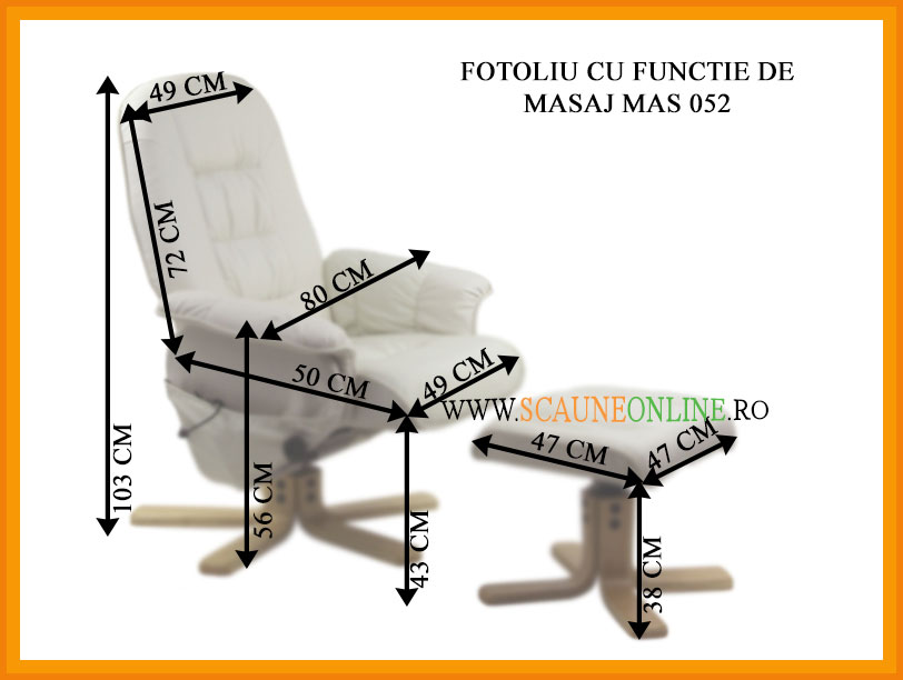 Dimensiuni Fotoliu cu functie de masaj MAS 052