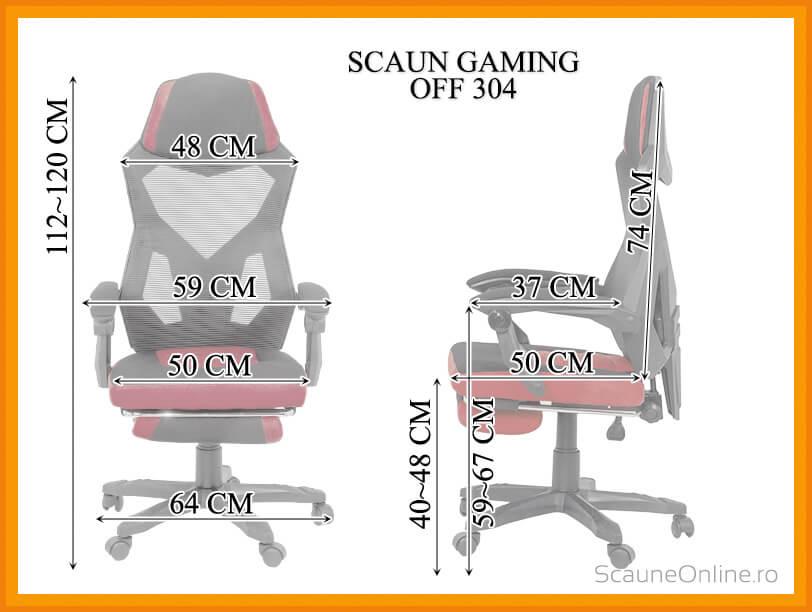 Dimensiuni Scaun gaming rosu cu negru OFF 304