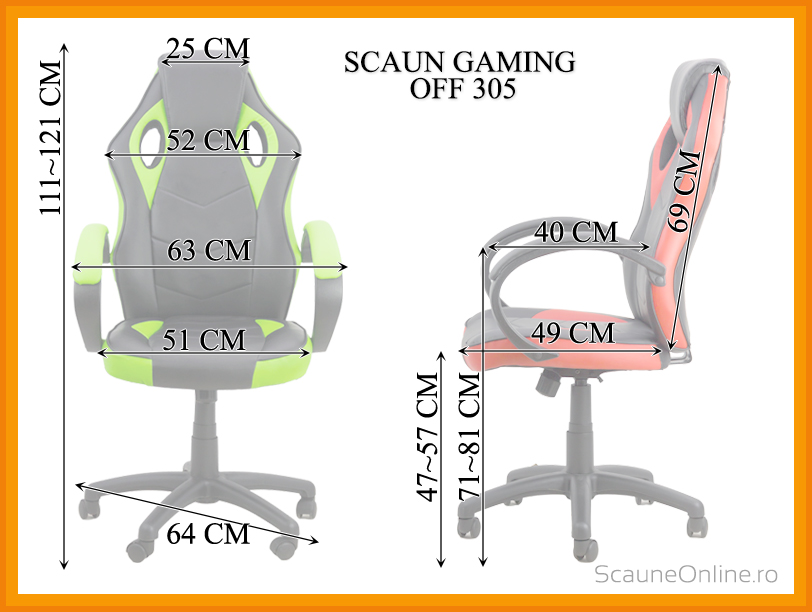 Dimensiuni Scaun de birou OFF 305