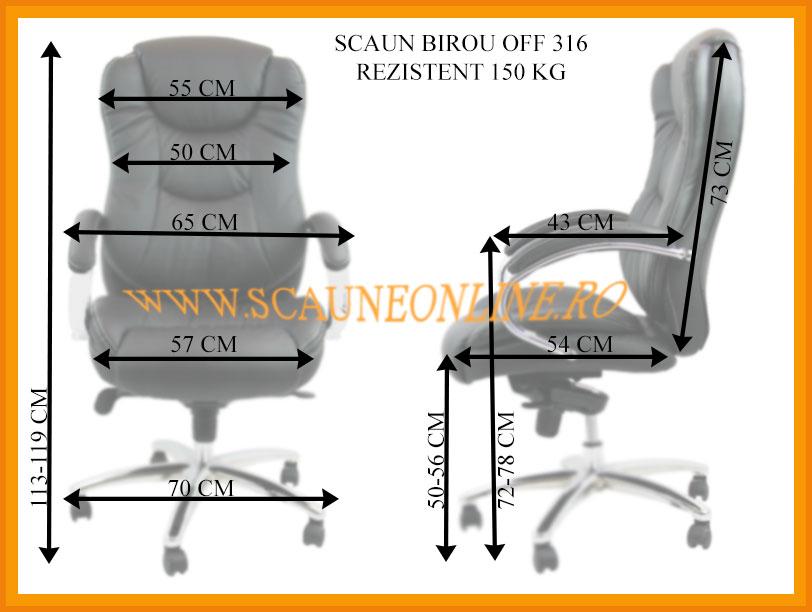 Dimensiuni Scaun birou OFF 316 - rezistent 150 Kg