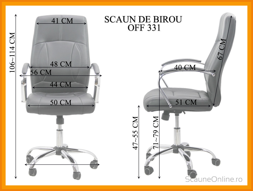 Dimensiuni Scaun de birou OFF 331