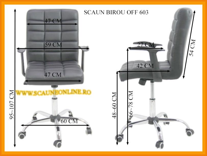 Dimensiuni Scaun birou OFF 603