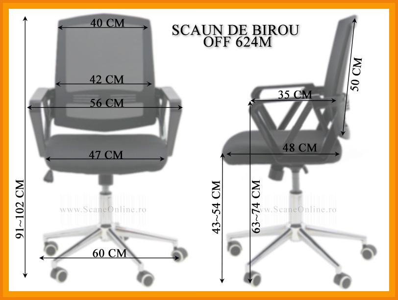 Dimensiuni Scaun de birou OFF 624M