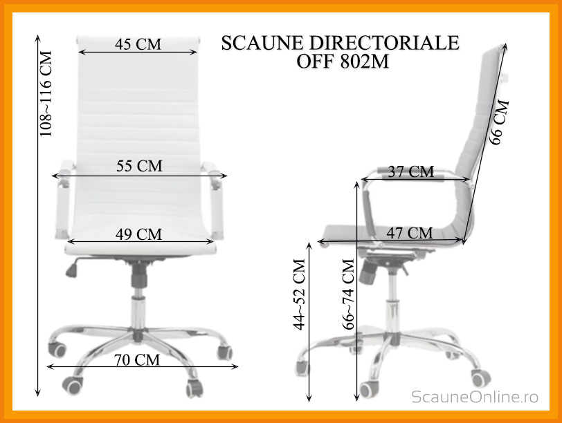 Dimensiuni Scaun directorial OFF 802M