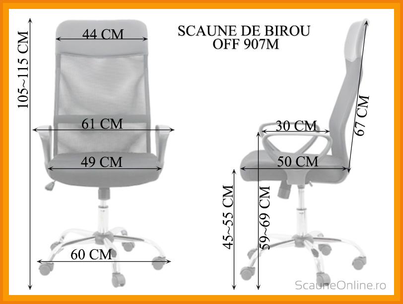 Dimensiuni Scaun de birou OFF 907M