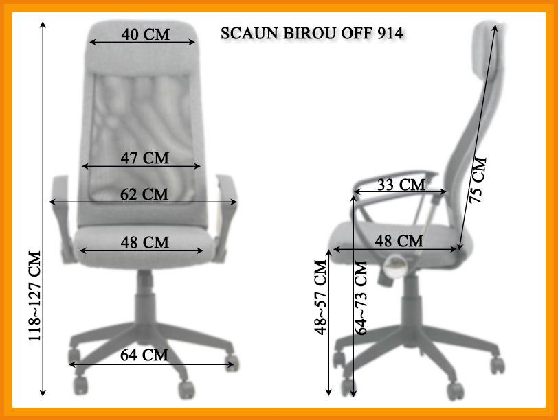 Dimensiuni Scaun de birou OFF 914