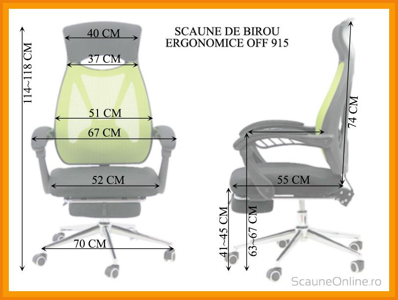 Dimensiuni Scaun ergonomic de birou OFF 915