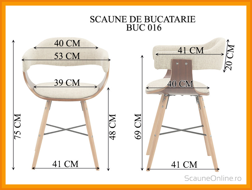 Dimensiuni Scaun de bucatarie BUC 016