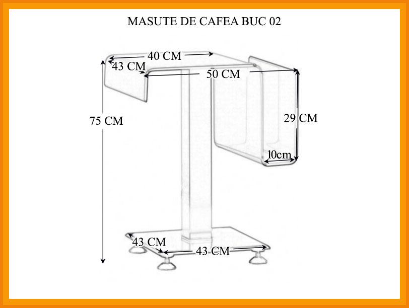Dimensiuni Masuta Cafea BUC 02