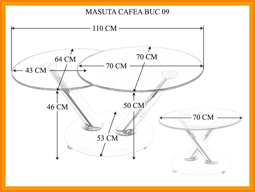 Dimensiuni Masuta Cafea BUC 09
