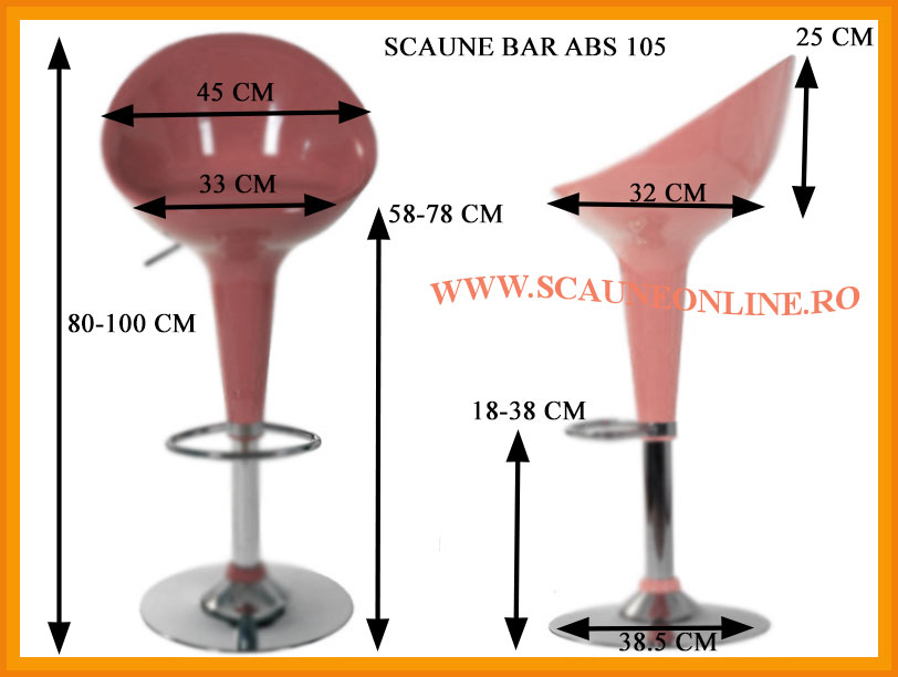 Dimensiuni scaune de bar ABS 105