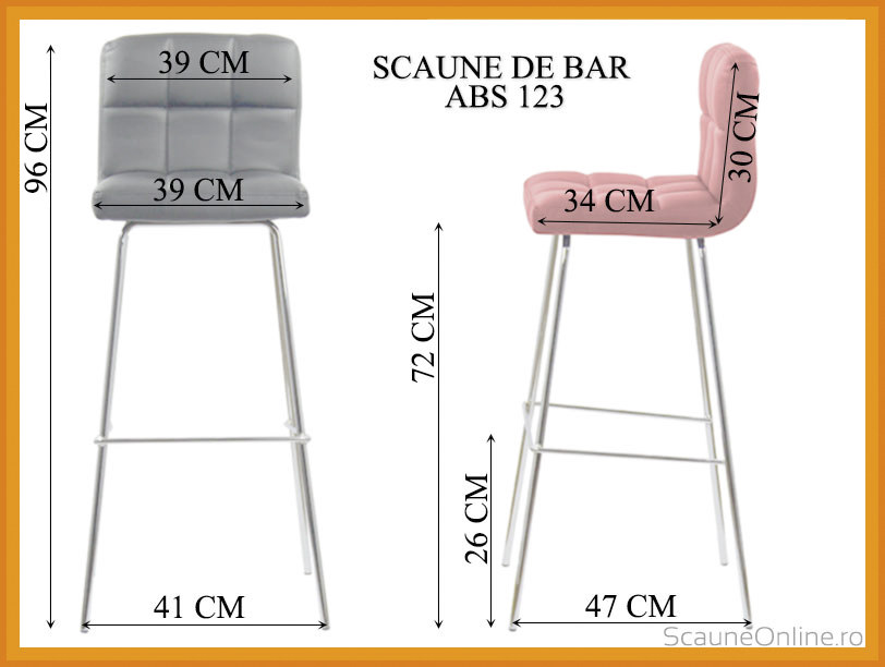 Dimensiuni scaune bar ABS 123 negru