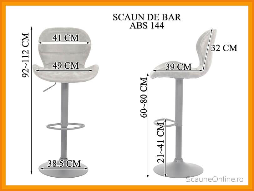 Dimensiuni Scaun de bar reglabil imitatie piele intoarsa ABS 144