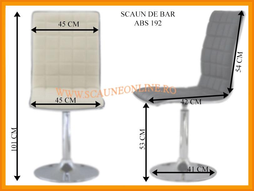 Dimensiuni scaune bar ABS 192