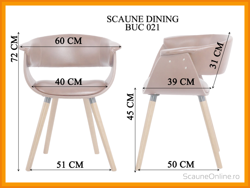 Dimensiuni Scaun dining BUC 021