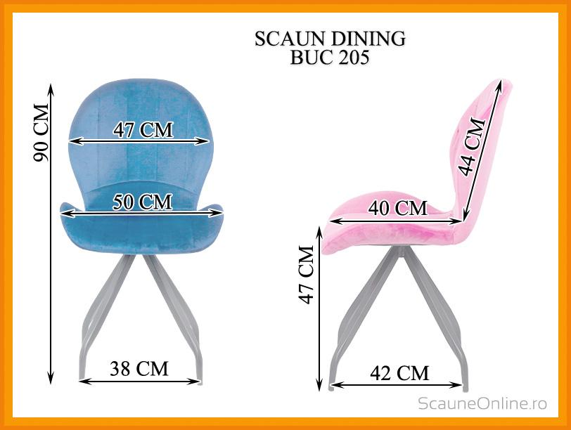Dimensiuni Scaun dining catifea cu picioare metalice BUC 205