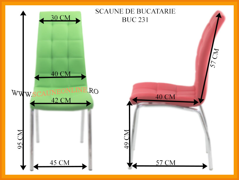 Dimensiuni scaune de bucatarie BUC 231
