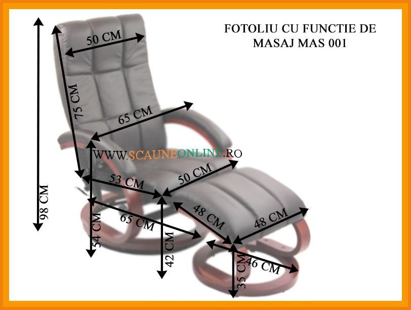 Dimensiuni Scaune cu functie de masaj MAS 001