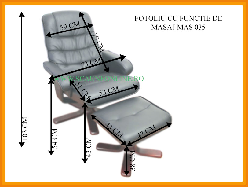 Dimensiuni Scaune cu functie masaj MAS 035