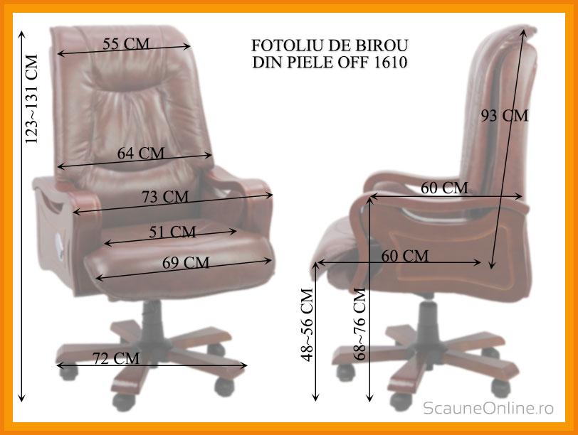 Dimensiuni Fotoliu de birou din piele OFF 1610