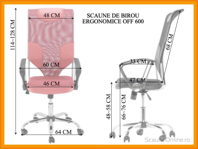 Dimensiuni scaune birou ergonomice OFF 600