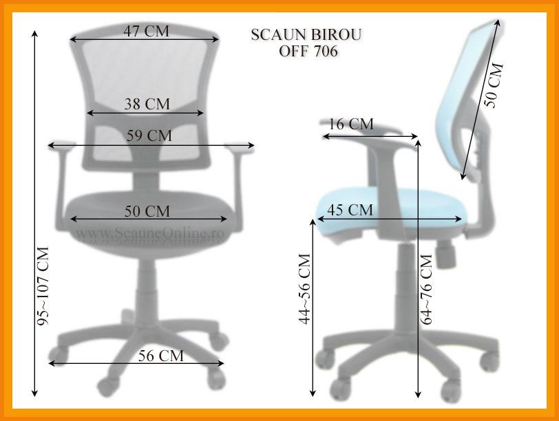 Dimensiuni Scaun de birou OFF 706