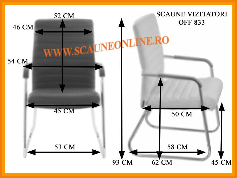 Dimensiuni scaun vizitatori OFF 833