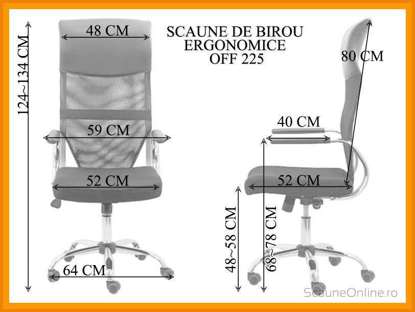 Dimensiuni Scaune de birou ergonomice OFF 908