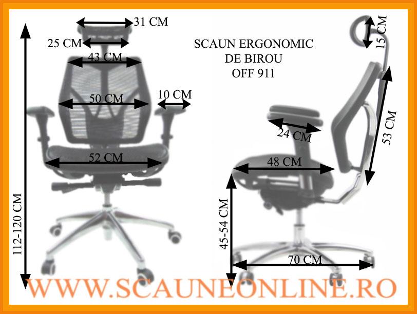 Dimensiuni Scaune ergonomice de birou OFF 911