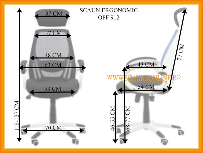 Dimensiuni Scaun ergonomic OFF 912
