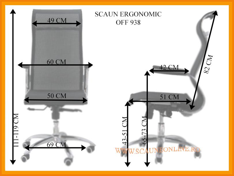 Dimensiuni Scaune ergonomice de birou OFF 938