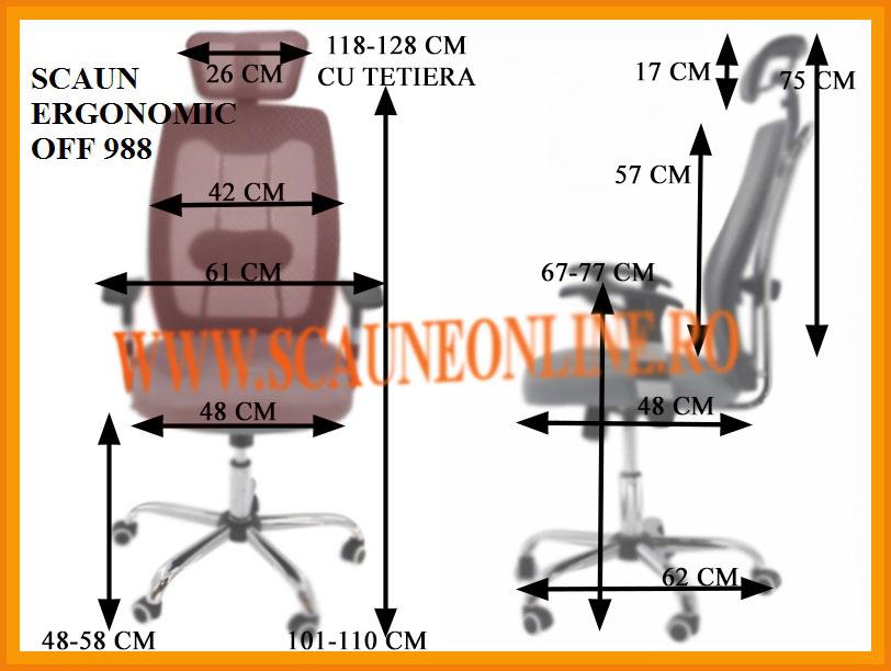 Dimensiuni Scaun ergonomic de birou OFF 988