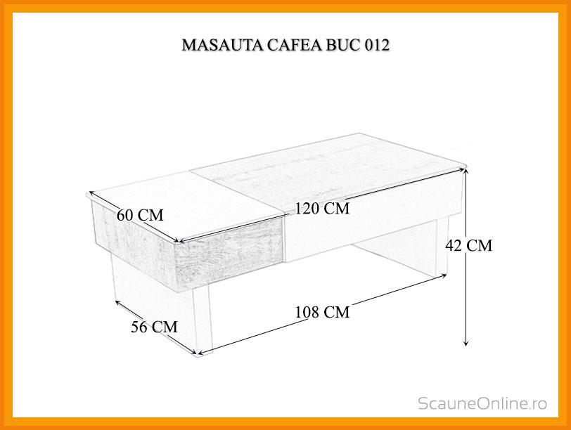 Dimensiuni Masa cafea BUC 012