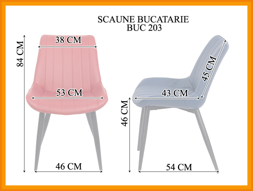 Dimensiuni Scaun dining BUC 203