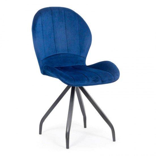 Scaun dining catifea cu picioare metalice BUC 205 albastru