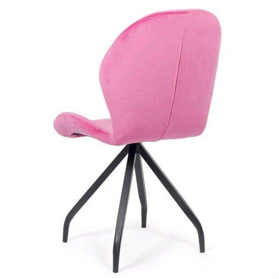 Scaun dining catifea cu picioare metalice BUC 205 roz