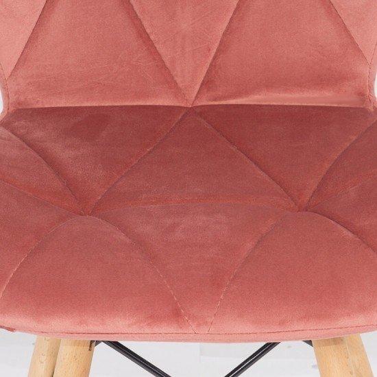 Scaun de bucatarie din catifea si cadru din lemn BUC 241V roz