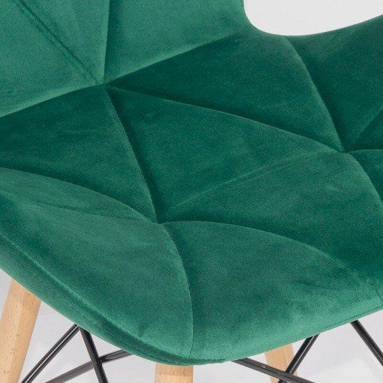 Scaun de bucatarie din catifea si cadru din lemn BUC 241V verde