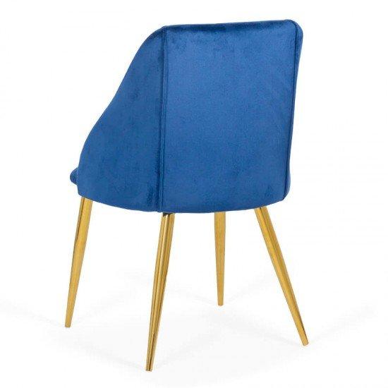 Scaun dining din catifea si cadru auriu BUC 253 albastru