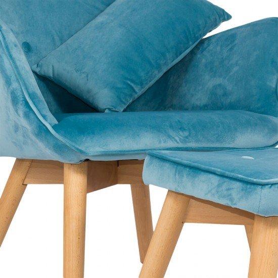 Fotoliu din catifea cu suport picioare si pernuta BUC 267 bleu