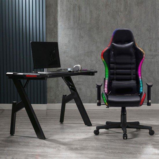 Birou Gaming cu iluminare LED OFF 300 negru