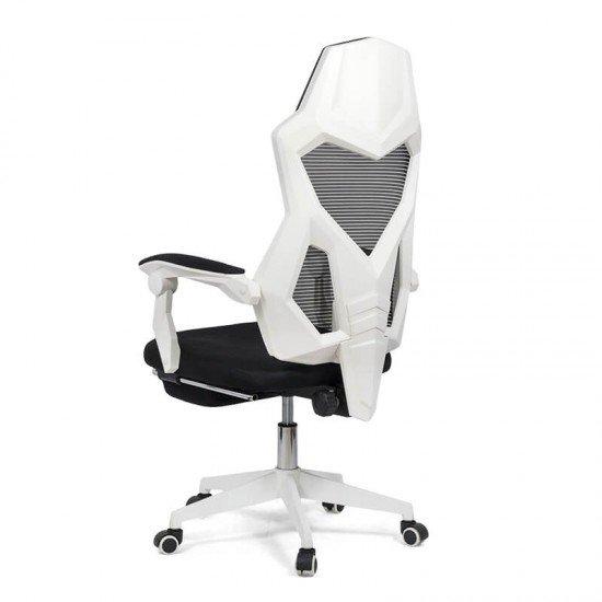 Scaun ergonomic cu suport de picioare OFF 424 alb